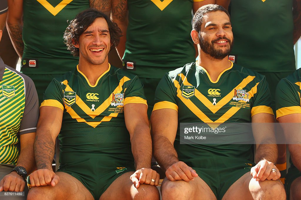Johnathan Thurston and Greg Inglis pose during the Australia Kangaroos Test team photo session at Crowne Plaza Coogee on May 2, 2016 in Sydney, Australia.