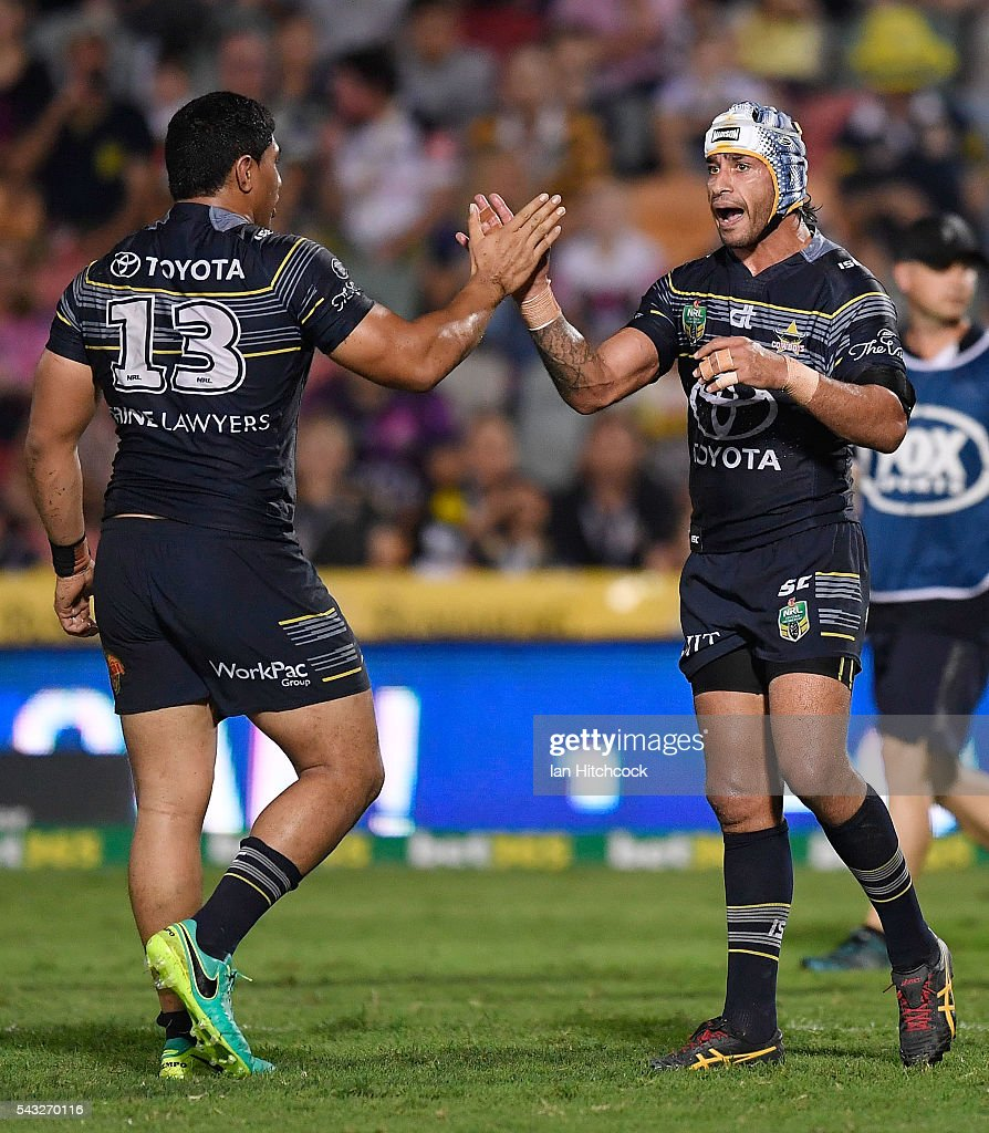 <a gi-track='captionPersonalityLinkClicked' href=/galleries/search?phrase=Johnathan+Thurston&family=editorial&specificpeople=233427 ng-click='$event.stopPropagation()'>Johnathan Thurston</a> and Jason Taumalolo of the Cowboys celebrate after a try which was scored by Antonio Winterstein of the Cowboys during the round 16 NRL match between the North Queensland Cowboys and the Manly Sea Eagles at 1300SMILES Stadium on June 27, 2016 in Townsville, Australia.