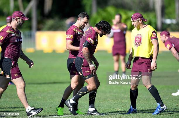 Johnathan Thurston has an injury scare after knocking his knee during a Queensland Maroons training session at Sanctuary Cove Resort on June 18 2017...
