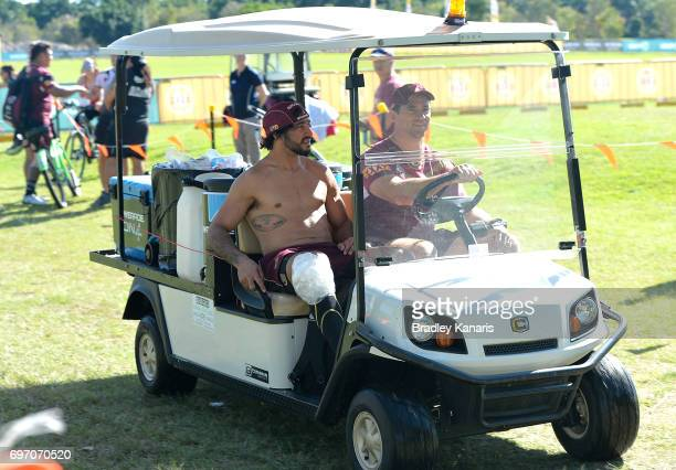 Johnathan Thurston is seen with his knee iced during a Queensland Maroons training session at Sanctuary Cove Resort on June 18 2017 at the Gold Coast...