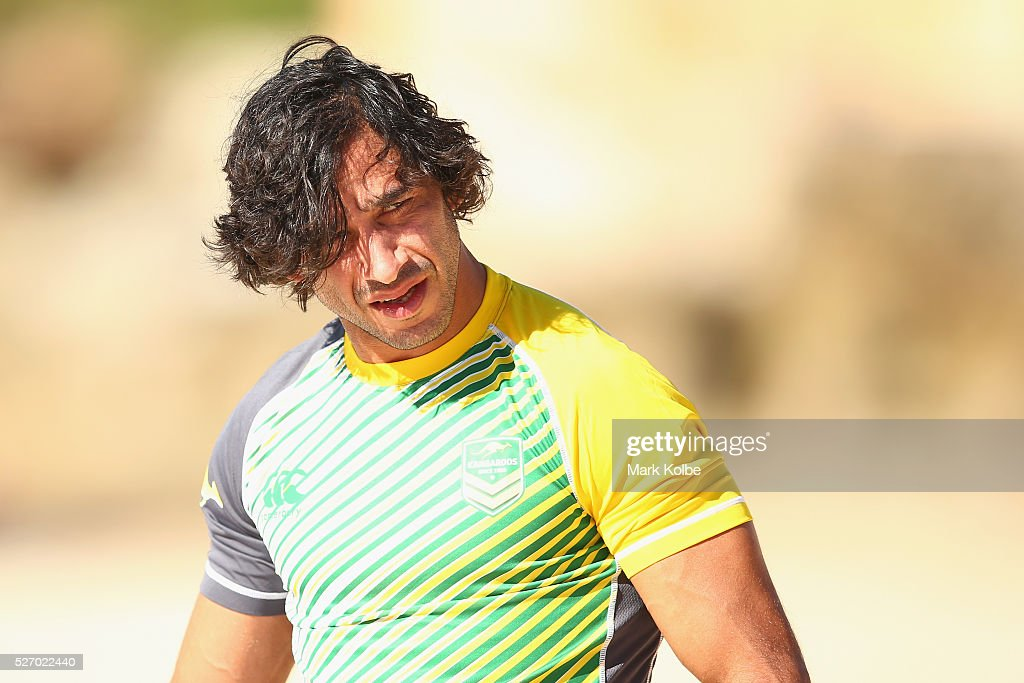 <a gi-track='captionPersonalityLinkClicked' href=/galleries/search?phrase=Johnathan+Thurston&family=editorial&specificpeople=233427 ng-click='$event.stopPropagation()'>Johnathan Thurston</a> looks on during the Australia Kangaroos Test team recovery session at Coogee Beach on May 2, 2016 in Sydney, Australia.
