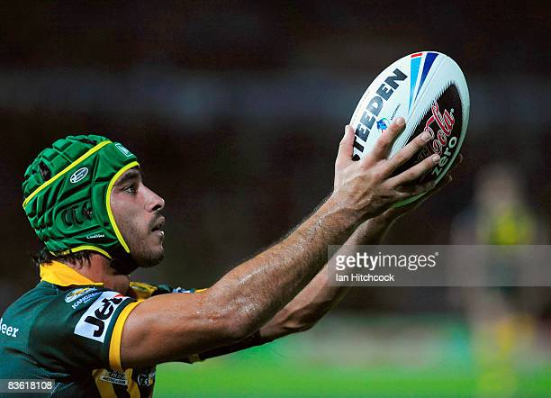 Johnathan Thurston of Australia prepares to make a conversion during the 2008 Rugby League World Cup Pool 1 match between Papua New Guinea and the...