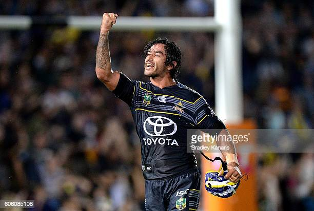 Johnathan Thurston of the Cowboys celebrates victory after the first NRL semi final between North Queensland Cowboys and Brisbane Brisbane at...