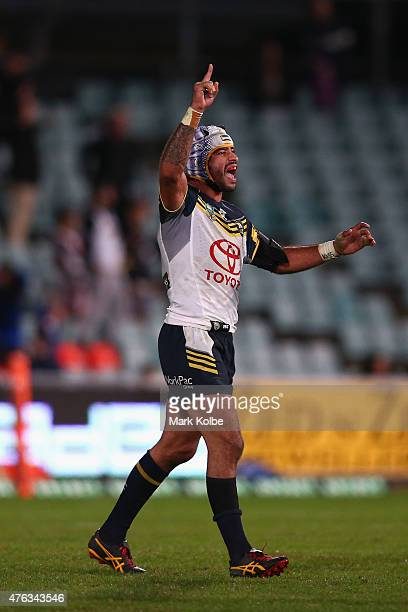 Johnathan Thurston of the Cowboys celebrates victory during the round 13 NRL match between the Parramatta Eels and the North Queensland Cowboys at...