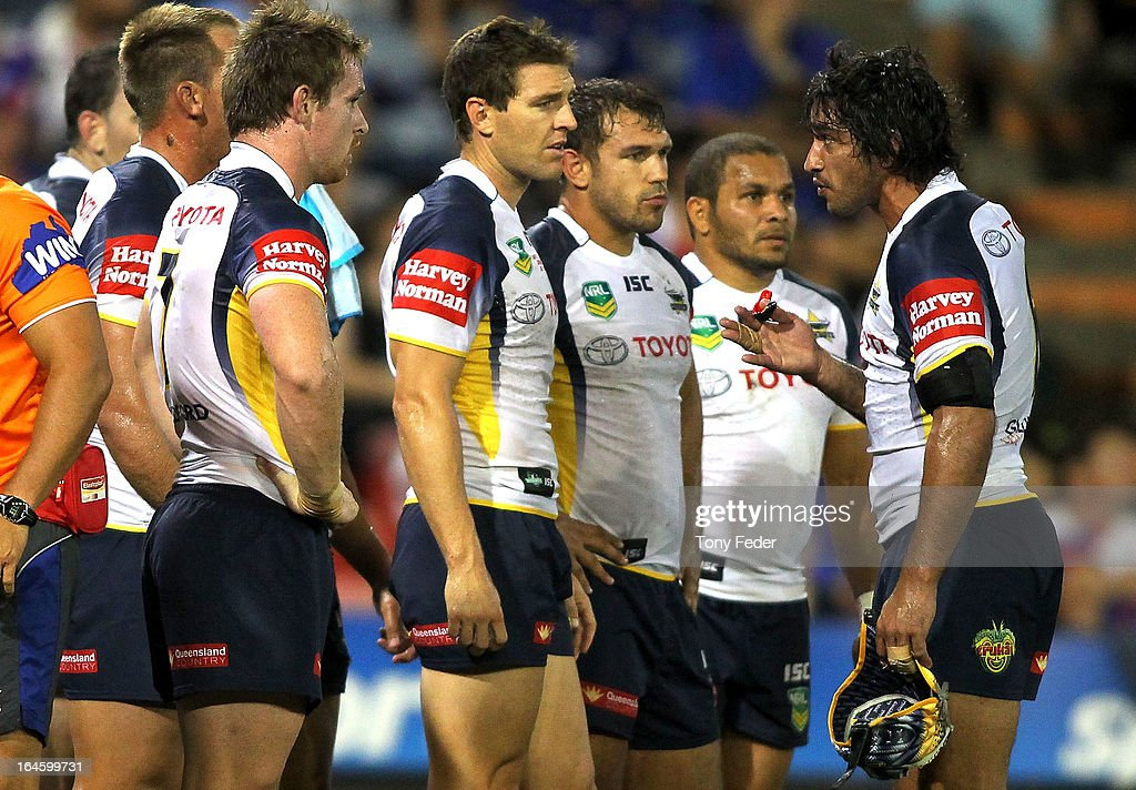<a gi-track='captionPersonalityLinkClicked' href=/galleries/search?phrase=Johnathan+Thurston&family=editorial&specificpeople=233427 ng-click='$event.stopPropagation()'>Johnathan Thurston</a> of the Cowboys counsells his team during the round three NRL match between the Newcastle Knights and the North Queensland Cowboys at Hunter Stadium on March 25, 2013 in Newcastle, Australia.