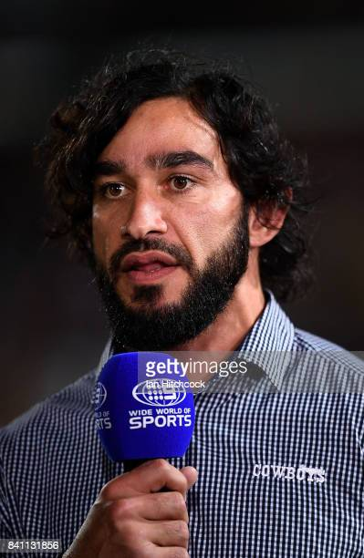 Johnathan Thurston of the Cowboys does a piece to camera before the start of the start of the round 26 NRL match between the North Queensland Cowboys...