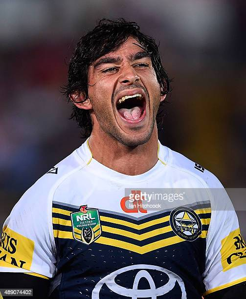 Johnathan Thurston of the Cowboys laughs after winning the Second NRL Semi Final match between the North Queensland Cowboys and the Cronulla Sharks...