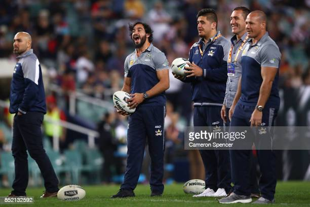 Johnathan Thurston of the Cowboys looks on before the NRL Preliminary Final match between the Sydney Roosters and the North Queensland Cowboys at...