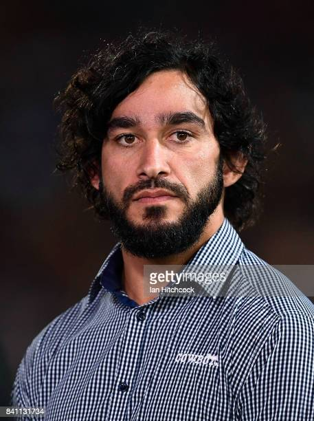 Johnathan Thurston of the Cowboys looks on before the start of the round 26 NRL match between the North Queensland Cowboys and the Brisbane Broncos...