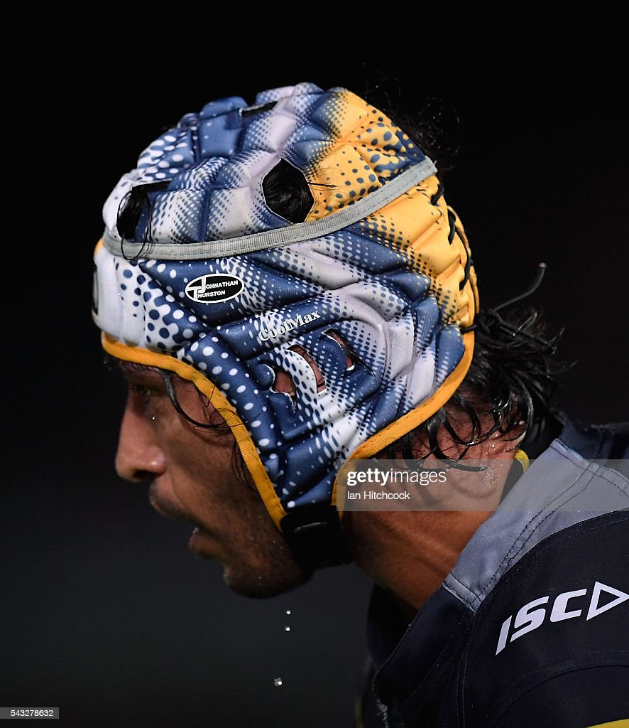 <a gi-track='captionPersonalityLinkClicked' href=/galleries/search?phrase=Johnathan+Thurston&family=editorial&specificpeople=233427 ng-click='$event.stopPropagation()'>Johnathan Thurston</a> of the Cowboys looks on during the round 16 NRL match between the North Queensland Cowboys and the Manly Sea Eagles at 1300SMILES Stadium on June 27, 2016 in Townsville, Australia.