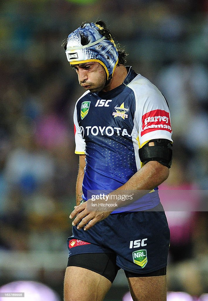 <a gi-track='captionPersonalityLinkClicked' href=/galleries/search?phrase=Johnathan+Thurston&family=editorial&specificpeople=233427 ng-click='$event.stopPropagation()'>Johnathan Thurston</a> of the Cowboys looks on during the round two NRL match between the North Queensland Cowboys and the Melbourne Storm at 1300SMILES Stadium on March 16, 2013 in Townsville, Australia.