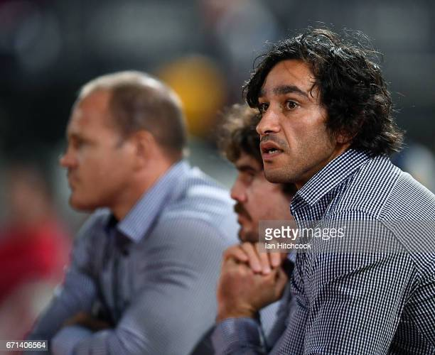 Johnathan Thurston of the Cowboys looks on from the bench during the round eight NRL match between the North Queensland Cowboys and the Newcastle...