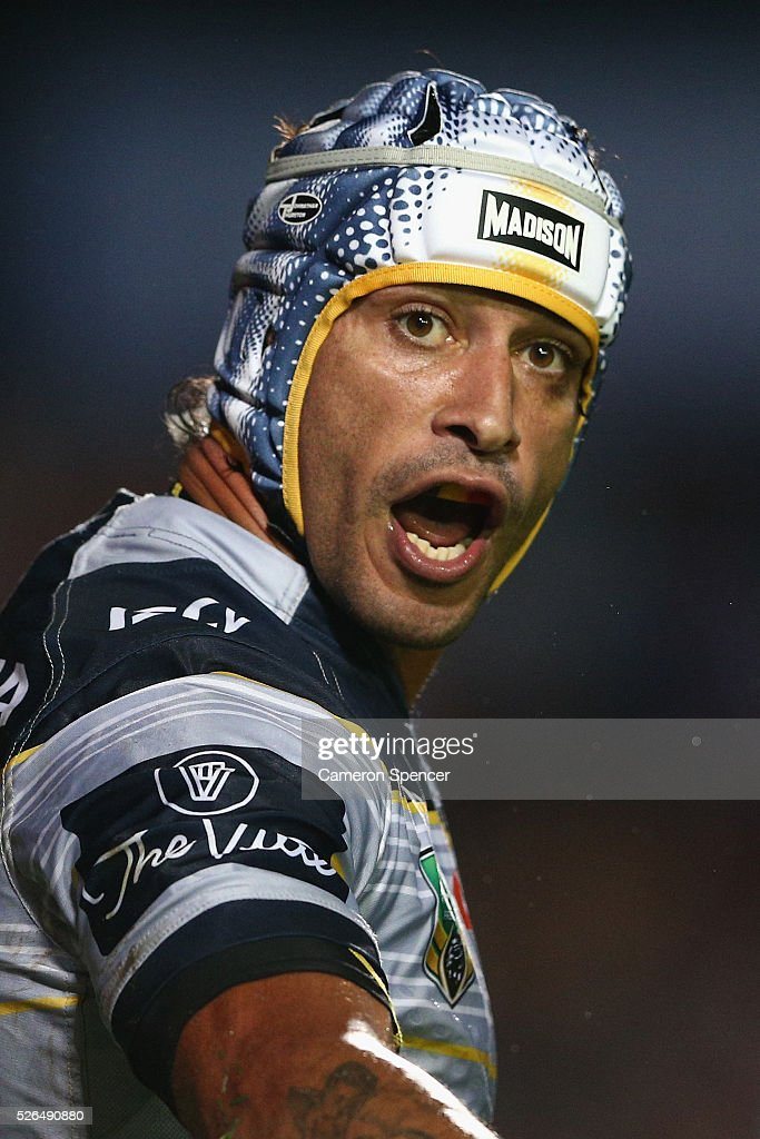 <a gi-track='captionPersonalityLinkClicked' href=/galleries/search?phrase=Johnathan+Thurston&family=editorial&specificpeople=233427 ng-click='$event.stopPropagation()'>Johnathan Thurston</a> of the Cowboys shows his emotion during the round nine NRL match between the Manly Sea Eagles and the North Queensland Cowboys at Brookvale Oval on April 30, 2016 in Sydney, Australia.