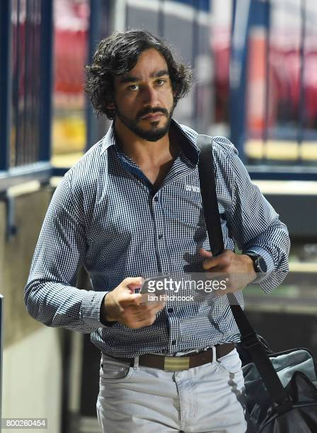 Johnathan Thurston of the Cowboys walks away from the Western grandstand at the end of the round 16 NRL match between the North Queensland Cowboys...