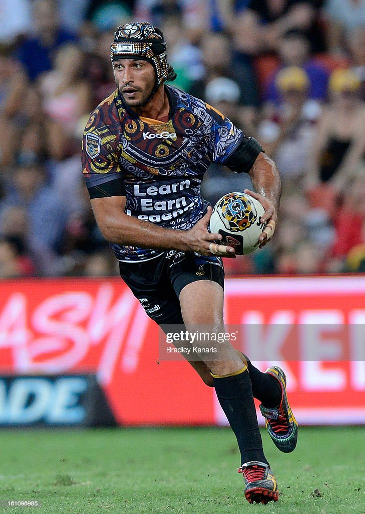 Johnathan Thurston of the Indigenous All Stars in action during the NRL All Stars Game between the Indigenous All Stars and the NRL All Stars at Suncorp Stadium on February 9, 2013 in Brisbane, Australia.