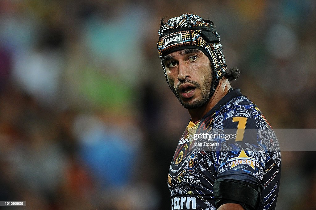 Johnathan Thurston of the Indigenous All Stars looks on during the NRL All Stars Game between the Indigenous All Stars and the NRL All Stars at Suncorp Stadium on February 9, 2013 in Brisbane, Australia.