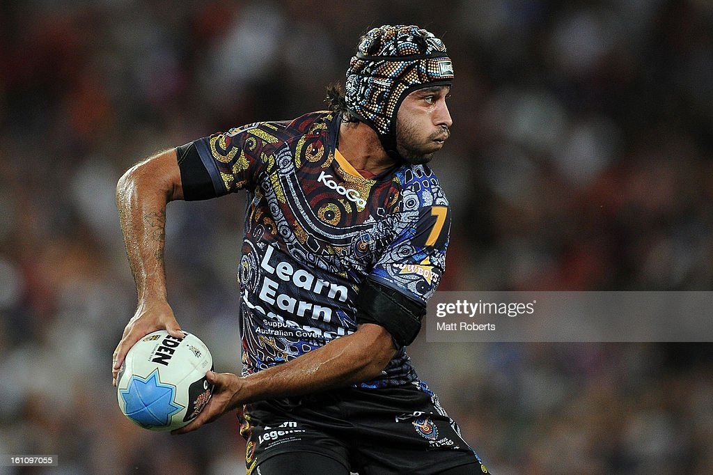 <a gi-track='captionPersonalityLinkClicked' href=/galleries/search?phrase=Johnathan+Thurston&family=editorial&specificpeople=233427 ng-click='$event.stopPropagation()'>Johnathan Thurston</a> of the Indigenous All Stars looks to pass during the NRL All Stars Game between the Indigenous All Stars and the NRL All Stars at Suncorp Stadium on February 9, 2013 in Brisbane, Australia.