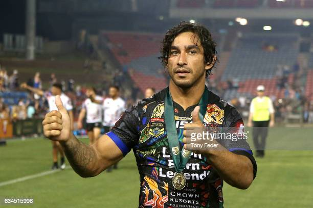 Johnathan Thurston of the Indigenous All Stars with the man of the match medal during the NRL All Stars match between the 2017 Harvey Norman All...
