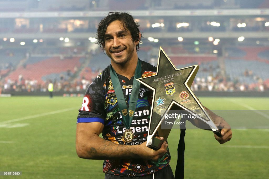 Johnathan Thurston of the Indigenous All Stars with the winners trophy during the NRL All Stars match between the 2017 Harvey Norman All Stars and the NRL World All Stars at McDonald Jones Stadium on February 10, 2017 in Newcastle, Australia.