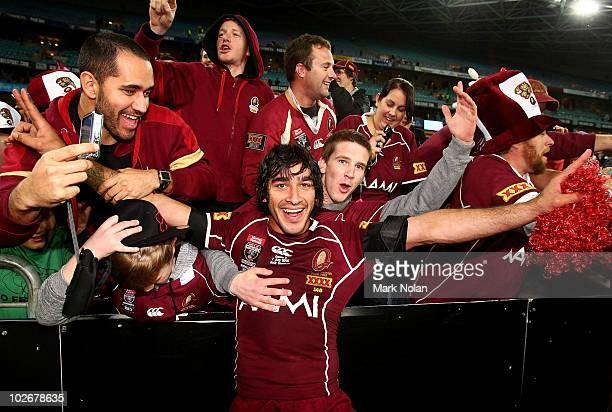 Johnathan Thurston of the Maroons celebrates with the crowd after game three of the ARL State of Origin series between the New South Wales Blues and...