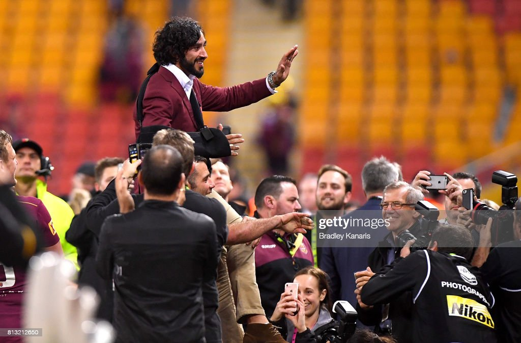 Johnathan Thurston of the Maroons is chaired off after Queensland win game three of the State Of Origin series between the Queensland Maroons and the New South Wales Blues at Suncorp Stadium on July 12, 2017 in Brisbane, Australia.