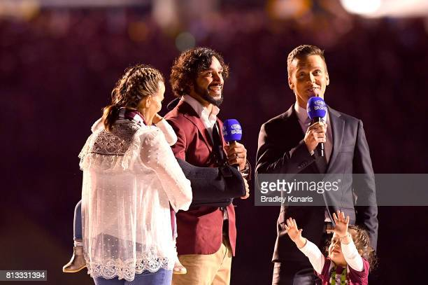 Johnathan Thurston of the Maroons is given a fairwell before game three of the State Of Origin series between the Queensland Maroons and the New...