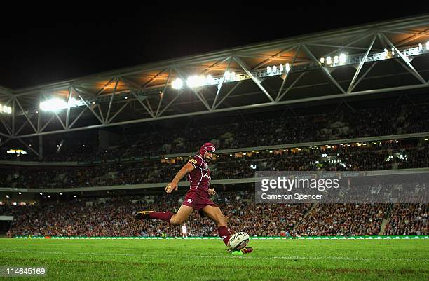 Johnathan Thurston of the Maroons kicks for goal during game one of the ARL State of Origin series between the Queensland Maroons and the New South...