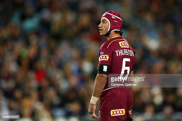 Johnathan Thurston of the Maroons looks on during game three of the State Of Origin series between the New South Wales Blues and the Queensland...