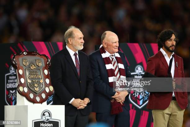 Johnathan Thurston of the Maroons on the podium after winning game three of the State Of Origin series between the Queensland Maroons and the New...