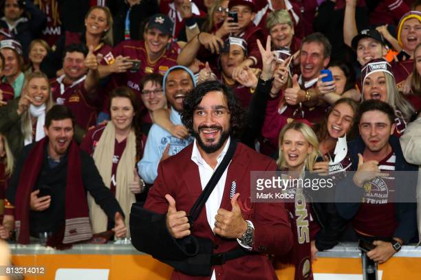 Johnathan Thurston of the Maroons poses with the crowd during game three of the State Of Origin series between the Queensland Maroons and the New...