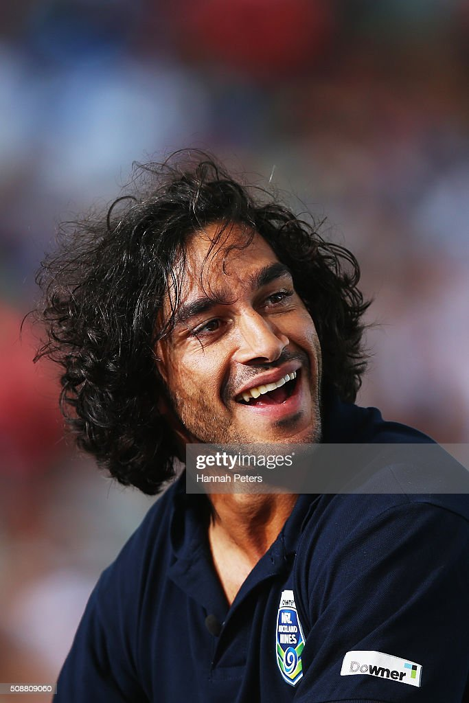 <a gi-track='captionPersonalityLinkClicked' href=/galleries/search?phrase=Johnathan+Thurston&family=editorial&specificpeople=233427 ng-click='$event.stopPropagation()'>Johnathan Thurston</a> of the North Queensland Cowboys is interviewed during the 2016 Auckland Nines at Eden Park on February 7, 2016 in Auckland, New Zealand.