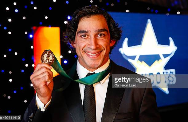 Johnathan Thurston poses after winning the 2015 Dally M Medal at Jupiters Casino on September 28 2015 in Townsville Australia