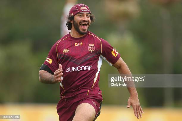 Johnathan Thurston smiles during a Queensland Maroons State of Origin training session at Intercontinental Sanctuary Cove Resort on June 16 2017 in...