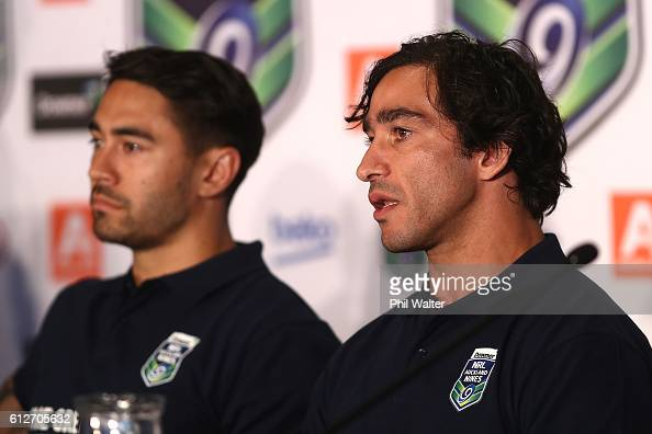 Johnathan Thurston speaks to the media during the 2017 Auckland Nines Launch at Eden Park on October 5 2016 in Auckland New Zealand
