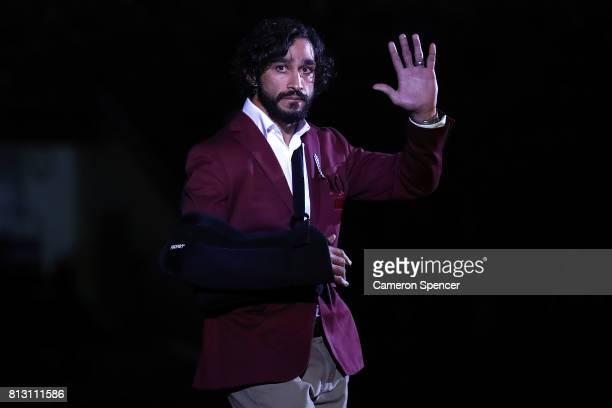 Johnathan Thurston waves to the crowd before game three of the State Of Origin series between the Queensland Maroons and the New South Wales Blues at...