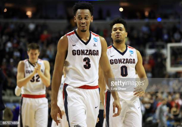 Johnathan Williams of the Gonzaga Bulldogs celebrates their 61 to 58 win over the West Virginia Mountaineers during the 2017 NCAA Men's Basketball...