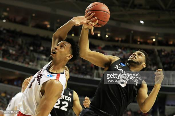Johnathan Williams of the Gonzaga Bulldogs goes up against Trevon Bluiett of the Xavier Musketeers during the 2017 NCAA Men's Basketball Tournament...