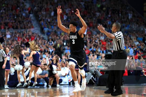 Johnathan Williams of the Gonzaga Bulldogs reacts in the second half against the North Carolina Tar Heels during the 2017 NCAA Men's Final Four...