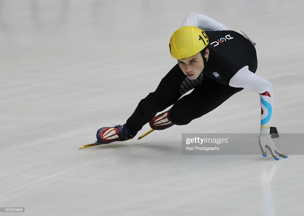 John-Henry Krueger of USA in Race 3 of Men 1500m(2) Preliminaries during day one of the ISU World Cup Short Track at Nippon Gaishi Arena on November 30, 2012 in Nagoya, Japan.