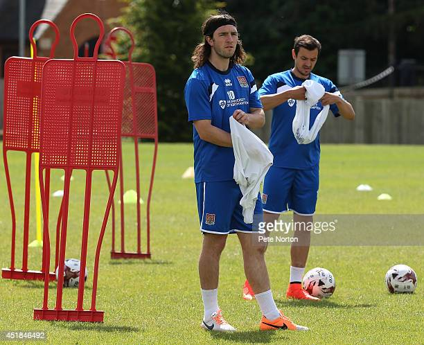 JohnJoe O'Toole of Northampton Town looks on during a training session at Moulton College on July 8 2014 in Northampton United Kingdom