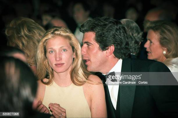 JohnJohn Kennedy and his friend Carolyn Bessette during the reception at Chateau de Malagny