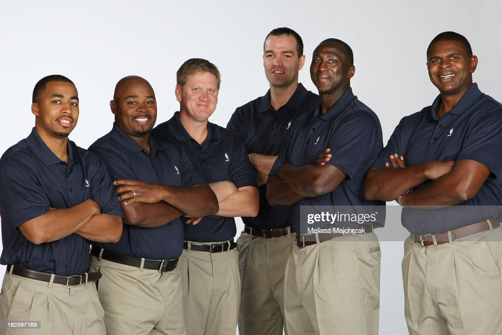 Johnnie Bryant, Sidney Lowe, Brad Jones, Alex Jensen, Tyrone Corbin and Michael Sanders the Coaching Staff of the Utah Jazz pose for a photo during 2013 Media Day at Zions Basketball Center on September 30, 2013 in Salt Lake City, Utah.