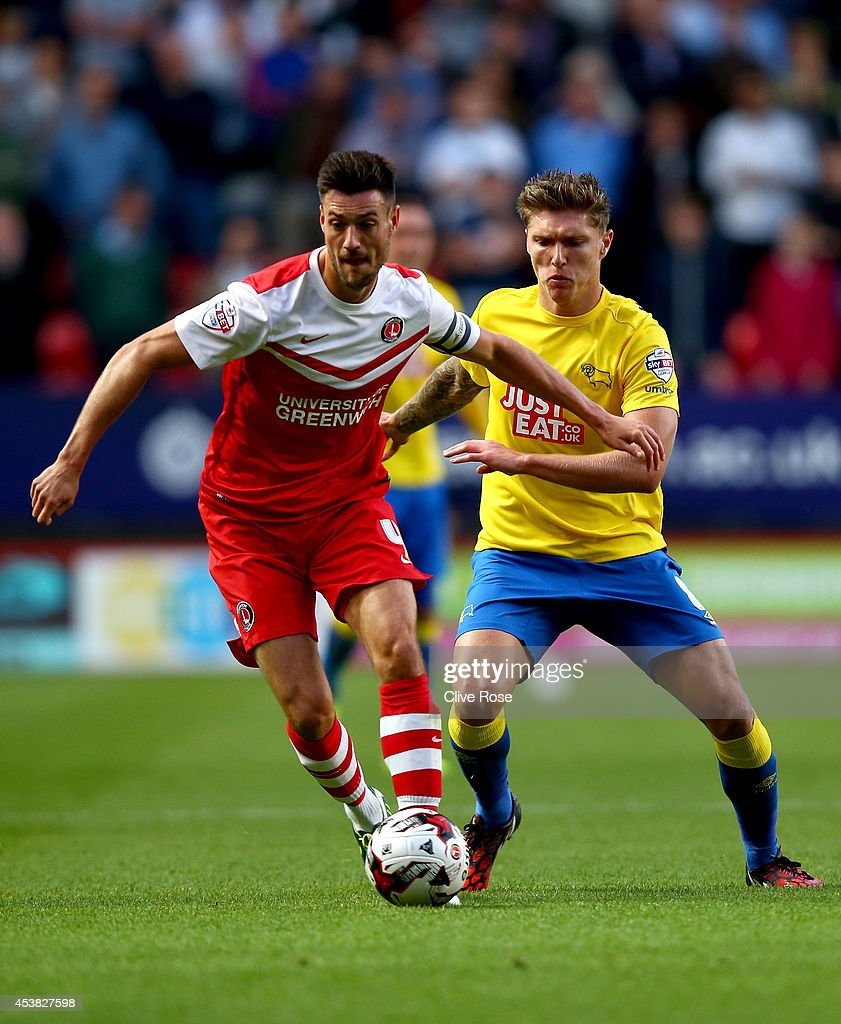 <a gi-track='captionPersonalityLinkClicked' href=/galleries/search?phrase=Johnnie+Jackson&family=editorial&specificpeople=853675 ng-click='$event.stopPropagation()'>Johnnie Jackson</a> of Charlton controls the ball from Jeff Hendrik of Derby County during the Sky Bet Championship match between Charlton Athletic and Derby County at The Valley on August 19, 2014 in London, England.