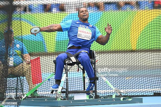Johnnie Williams of the USA competes in the men's discus throw F56 on day 3 of the Rio 2016 Paralympic Games at the Olympic stadium on September 10...