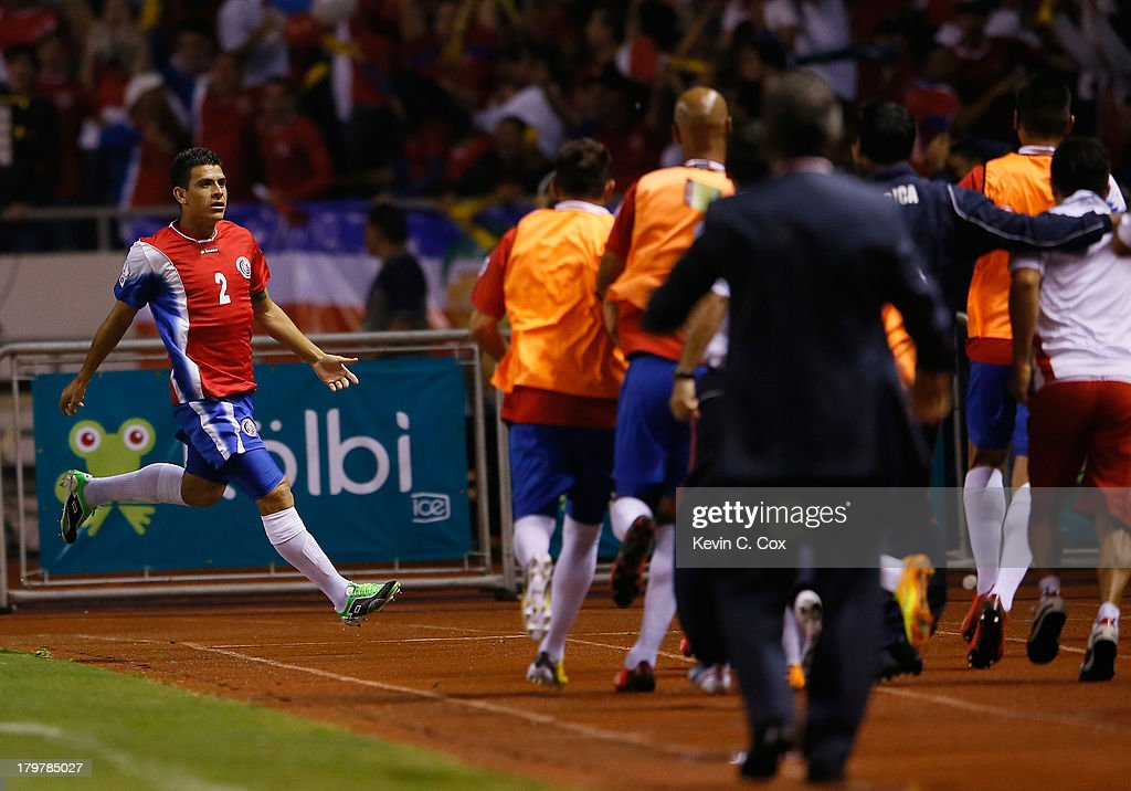 Johnny Acosta #2 celebrates scoring the first goal against the United States during the FIFA 2014 World Cup Qualifier at Estadio Nacional on September 6, 2013 in San Jose, Costa Rica.