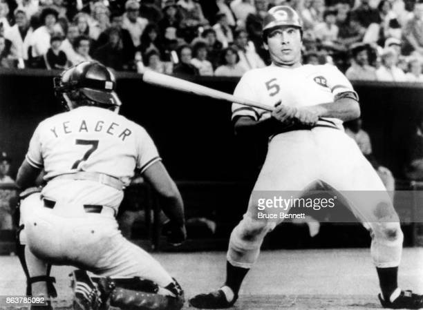 Johnny Bench of the Cincinnati Reds backs out after getting an inside pitch as catcher Steve Yeager of the Los Angeles Dodgers looks to see where the...