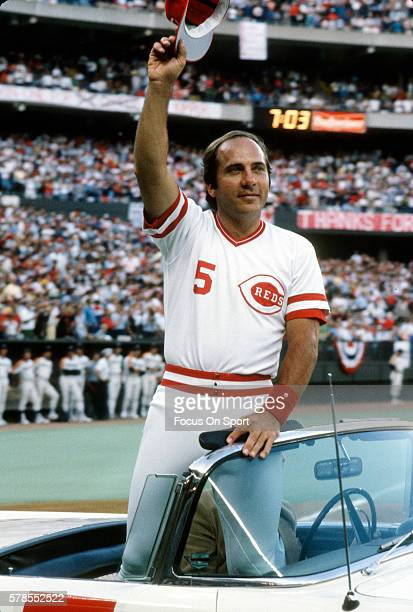 Johnny Bench of the Cincinnati Reds is honored by the team and fans prior to the start of a Major League Baseball game circa 1983 at Riverfront...