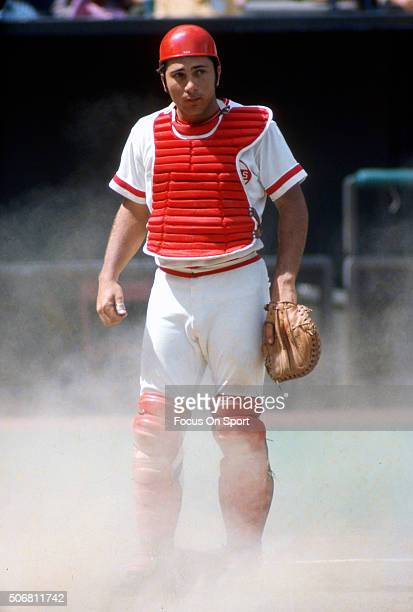 Johnny Bench of the Cincinnati Reds looks on during an Major League Baseball game circa 1972 at Riverfront Stadium in Cincinnati Ohio Bench played...
