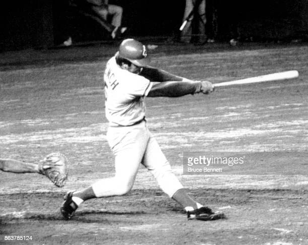 Johnny Bench of the Cincinnati Reds swings at the pitch during an MLB game circa 1978
