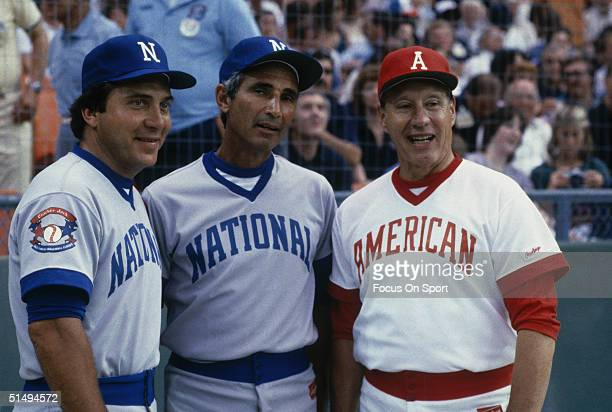 Johnny Bench Sandy Koufax and Bob Feller wears the National League and American League uniforms for the Cracker Jack Classic during the 1980s